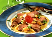 Duck breast with sweet and sour pumpkin sauce