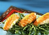 Nigiri with salmon and rocket