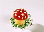 Fly agaric made of potato & tomato with mayonnaise spots