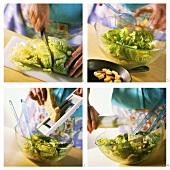 Cäsarsalat mit Croutons zubereiten