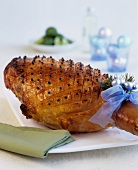 Roast ham, studded with cloves, for Christmas