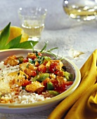 Chicken ragout with tomatoes, peppers and rice