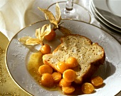Marzipan pudding with physalis ragout on plate