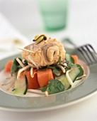 Vegetable salad with tuna in mustard marinade