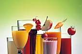 Various fruit and vegetable juices in glasses
