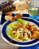 Romaine lettuce with chicken, tacos and cactus salsa