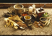 Various exotic spices with mortar and coffee mill