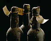 Three old wine bottles with auction labels