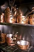 Copper pans in the Louis XV Restaurant in Monaco