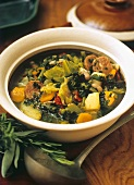 Minestrone in a soup dish