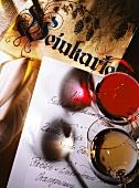 Wine list, red wine glass, white wine glass, menu