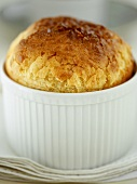 Cheese soufflé in a soufflé dish