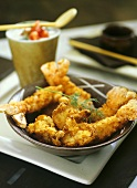 Deep-fried scampi and chanterelles on plate