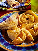 Danish pastries: filled puff pastries on colourful plate
