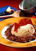 Rice with peppers and mince sauce (Nessie's monster food)