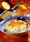 Sour rice: rice pudding with pieces of mandarin orange & lemon