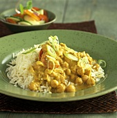 Chickpea korma (rice with chickpea and curry sauce)