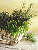 Various fresh herbs in a basket