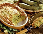 Courgette souffle in baking dish and on spoon