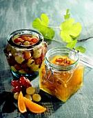 Bottled fruit in two jars