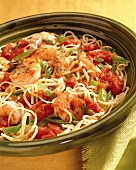 Pasta ai gamberi (Spaghetti with shrimps, tomatoes & peppers)