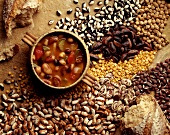 Hearty bean soup, surrounded by beans and lentils