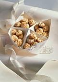 Mocha macaroons in Christmas gift box