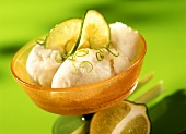 Lemon grass sorbet with slices of lime and lime zest