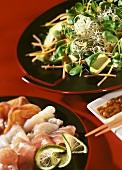 Kyoto salad with avocado, sprouts and sashimi