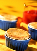 Banana souffles with red apple sauce