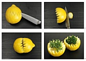 Carving lemon crowns, with herb garnish