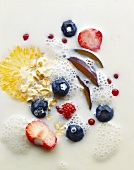 Muesli with fruit, berries, milk and rolled oats