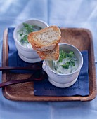 Potage sante: potato & leek soup with chervil & baguette