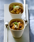 Sauerkraut soup with beef and a blob of crème fraiche