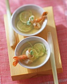 Lemon grass soup with shrimps and lime slices