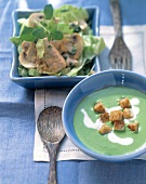 Spinach soup and croutons; lettuce, turkey breast & mushroom