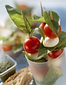 Spiedini capresi (mozzarella and tomato kebabs with basil)
