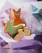 Easter biscuits with glace icing in box