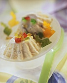 Russian Easter quark with candied fruit on plate