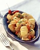 Gnocchi piccanti (Gnocchi with spicy tomato & mushroom sauce)