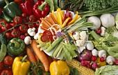 Plate of raw vegetables on various fresh vegetables