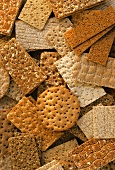 Various types of crispbreads (filling the picture)