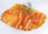 Smoked salmon slice with dill