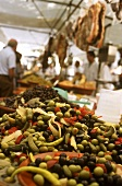 Olives and pickles at a market in Majorca