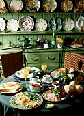 Substantial breakfast in a country house
