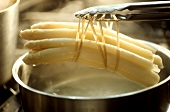 Freshly boiled white asparagus on tongs above a pan
