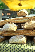 A pile of rustic bread at a market in Provence