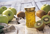 Kiwi fruit & apple preserve in jar; whole apples, sugar, kiwis