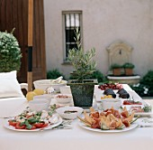 Italian appetiser buffet in open air