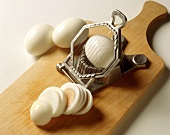 Hard-boiled eggs with egg slicer